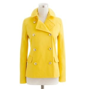 J Crew Trudy Peacoat Yellow Jacket Gold Button 00